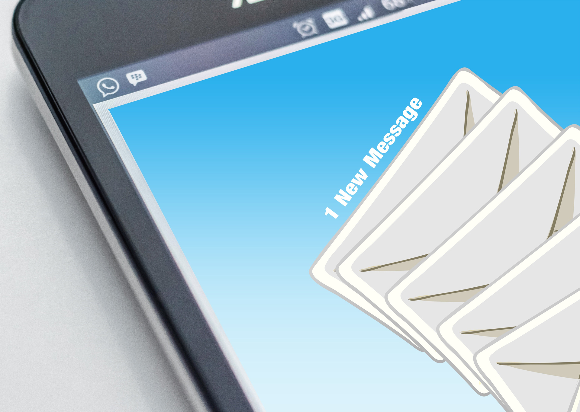 Preview of an email client with a new message notification
