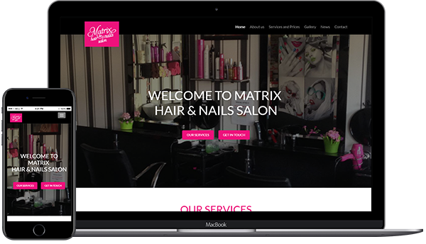 Hair and Beauty Salon website design for Matrix hair and nails salon in Cork, Ireland