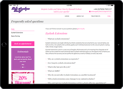 Beauty salon FAQ page