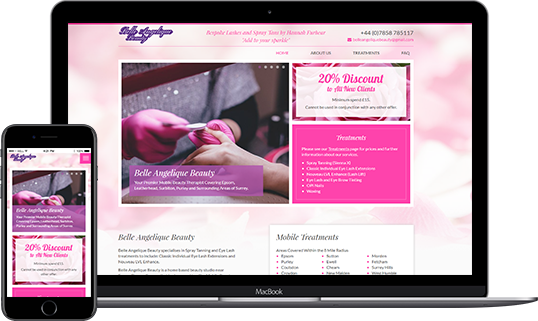Belle Angelique Beauty - mobile responsive website design